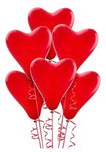 HEART BALLOONS (INCLUDES STRING AND BALLOON PUMP)